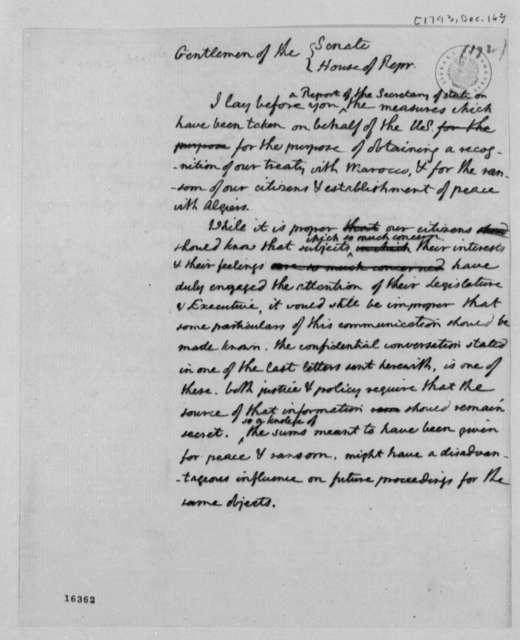 Thomas Jefferson to Congress, December 16, 1793, Report