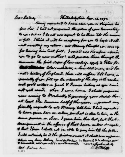 Thomas Jefferson to Dabney Carr, April 14, 1793