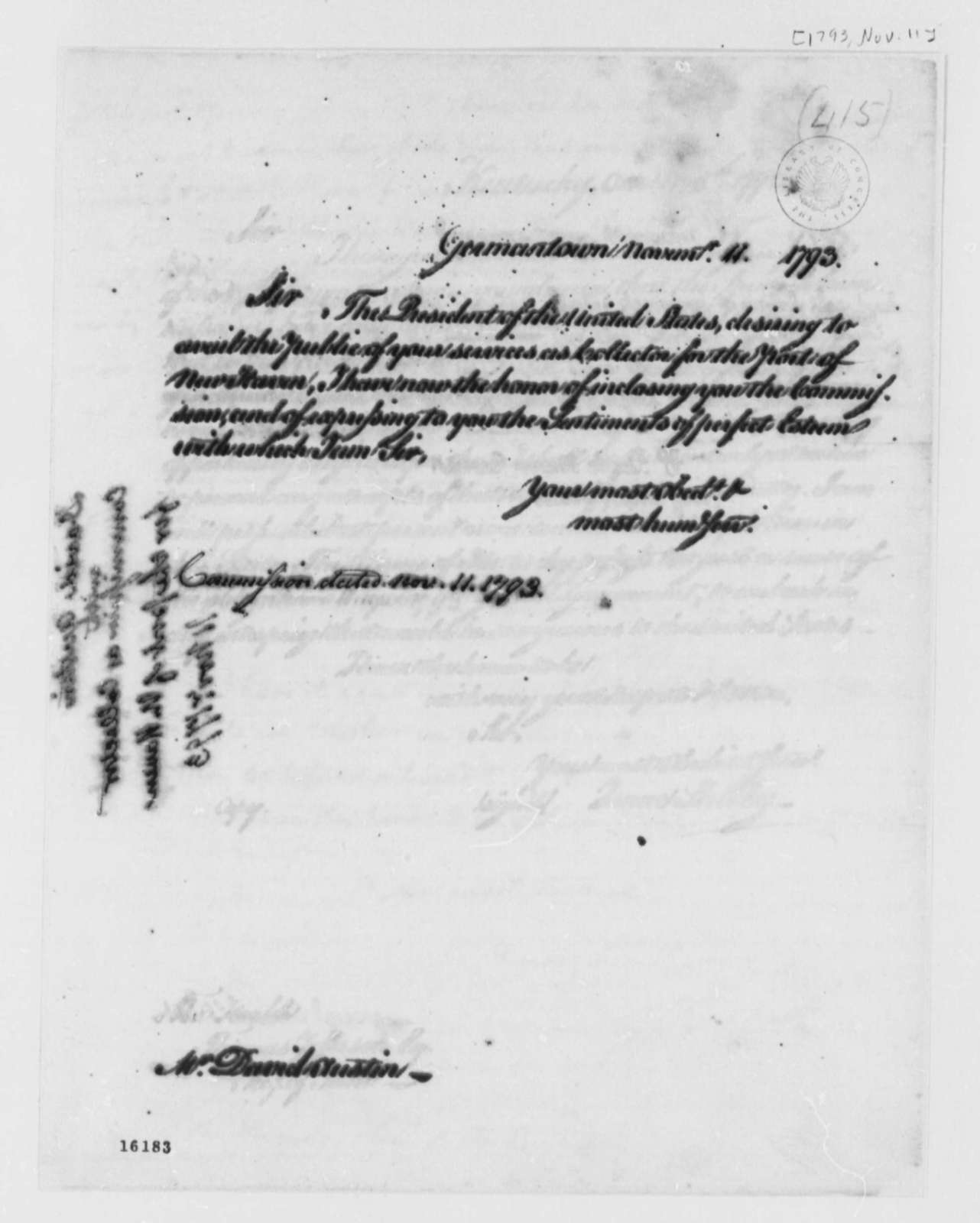 Thomas Jefferson to David Austin, November 11, 1793, Commission