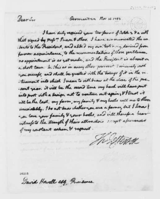Thomas Jefferson to David Howell, November 14, 1793
