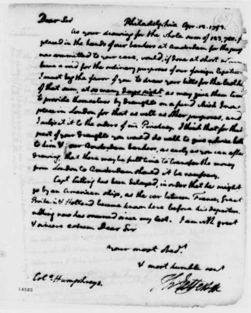 Thomas Jefferson to David Humphreys, April 12, 1793