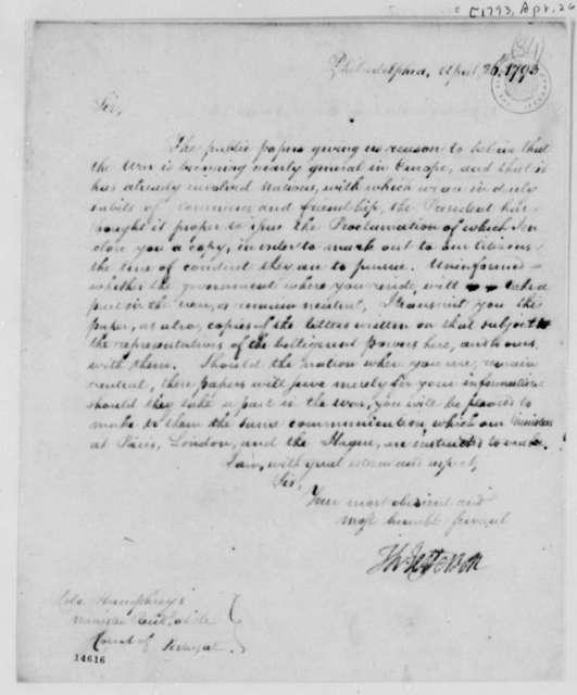 Thomas Jefferson to David Humphreys, April 26, 1793