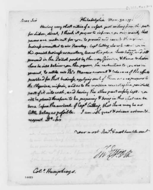 Thomas Jefferson to David Humphreys, March 30, 1793