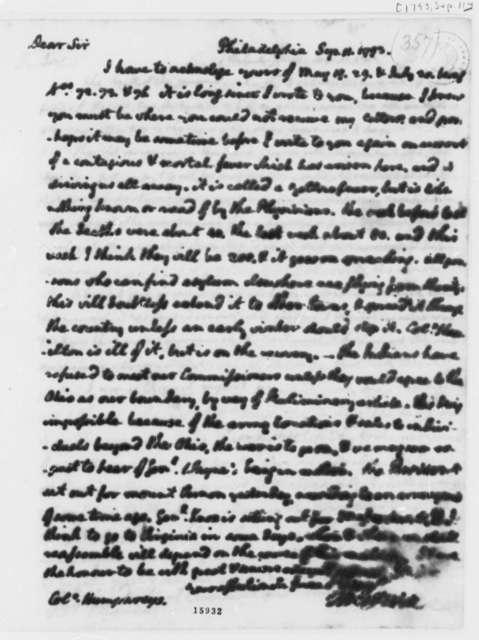 Thomas Jefferson to David Humphreys, September 11, 1793