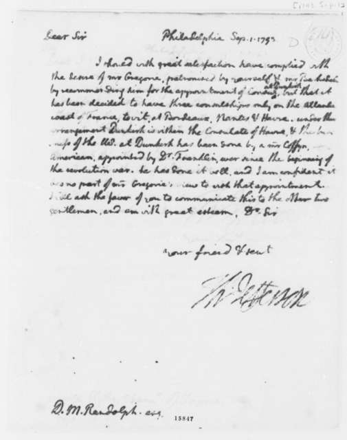 Thomas Jefferson to David Meade Randolph, September 1, 1793