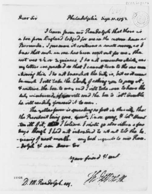 Thomas Jefferson to David Meade Randolph, September 10, 1793