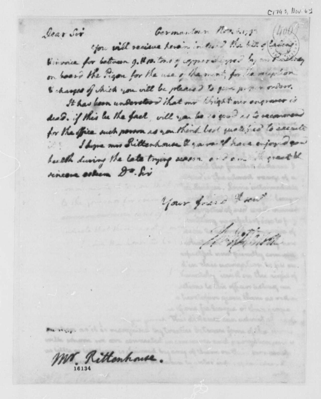 Thomas Jefferson to David Rittenhouse, November 6, 1793