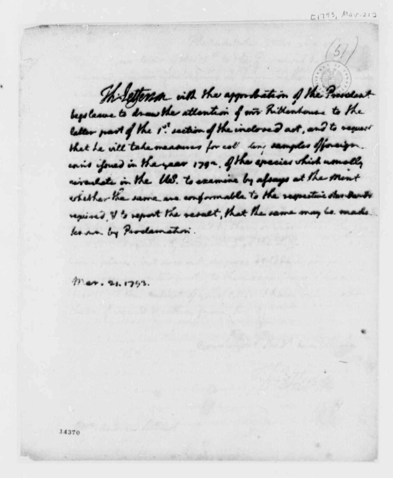 Thomas Jefferson to David Rittenshouse, March 21, 1793