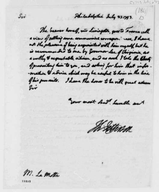Thomas Jefferson to Delamotte, July 27, 1793
