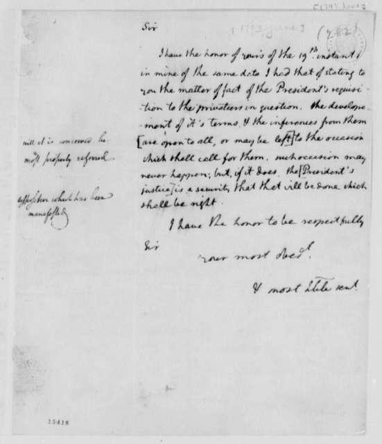 Thomas Jefferson to Edmond C. Genet, June 1793