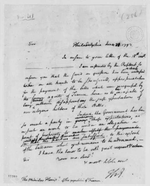 Thomas Jefferson to Edmond C. Genet, June 23, 1793, with Draft