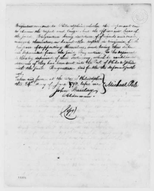 Thomas Jefferson to Edmond C. Genet, June 29, 1793, with Affidavits from Michael Pile, et al