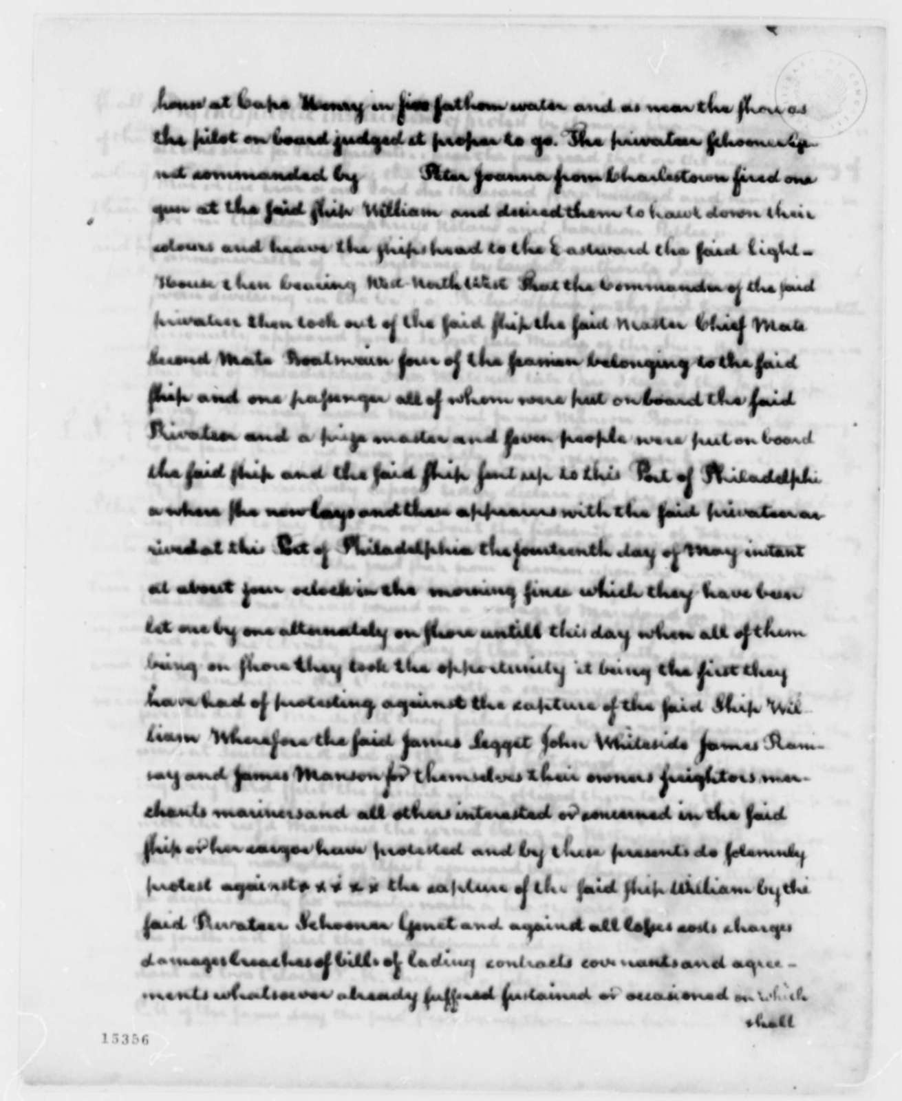 Thomas Jefferson to Edmond C. Genet, June 29, 1793, with Protests and Affidavits
