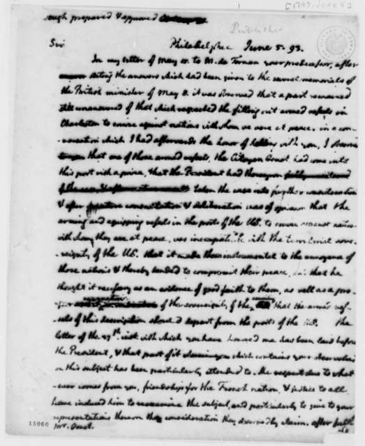 Thomas Jefferson to Edmond C. Genet, June 5, 1793, with Draft