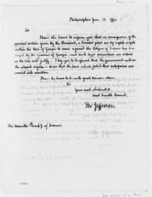 Thomas Jefferson to Edmond Charles Genet, June 23, 1793