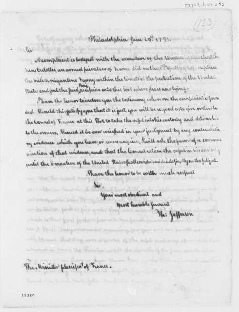 Thomas Jefferson to Edmond Charles Genet, June 29, 1793, with Affidavits