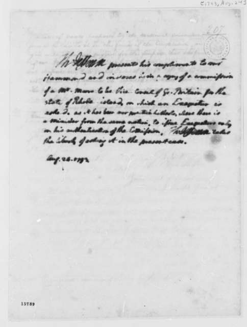 Thomas Jefferson to Edmund Randolph, August 24, 1793