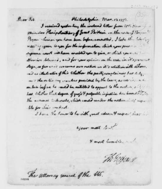 Thomas Jefferson to Edmund Randolph, March 13, 1793