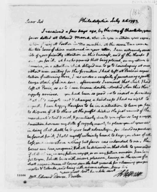 Thomas Jefferson to Edward Dowse, July 26, 1793