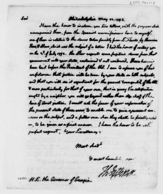 Thomas Jefferson to Edward Telfair, May 22, 1793