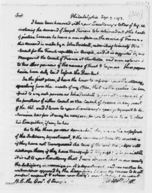 Thomas Jefferson to Edward Telfair, September 9, 1793