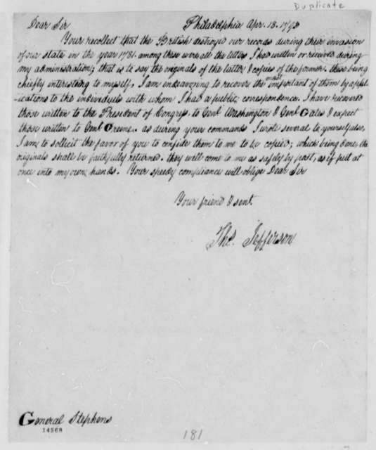 Thomas Jefferson to Edwards Stephens, April 18, 1793, with Copy