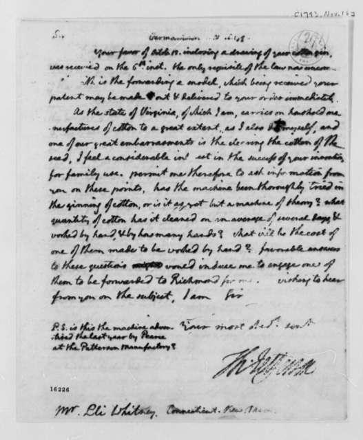 Thomas Jefferson to Eli Whitney, November 16, 1793