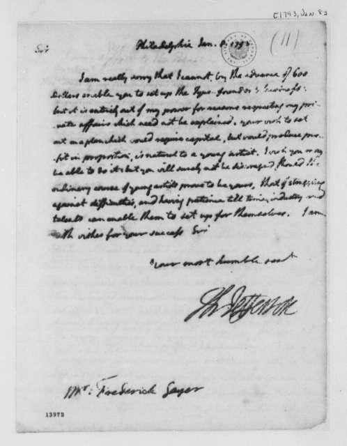 Thomas Jefferson to Ernst Frederick Gayer, January 8, 1793