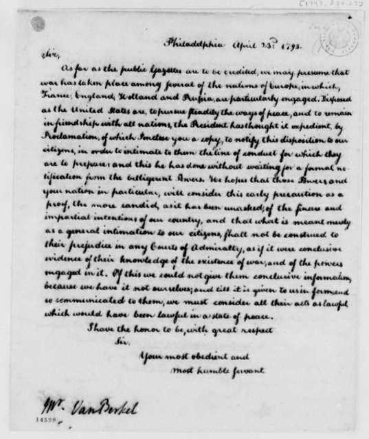 Thomas Jefferson to Franco Petrus van Berckel, April 23, 1793