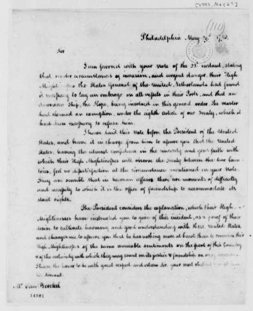 Thomas Jefferson to Franco Petrus van Berckel, May 29, 1793