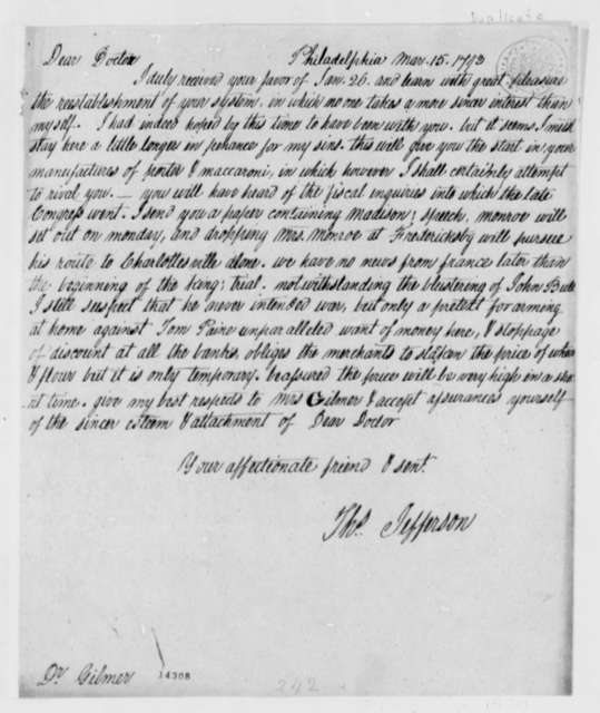Thomas Jefferson to George Gilmer, March 15, 1793, with Copy