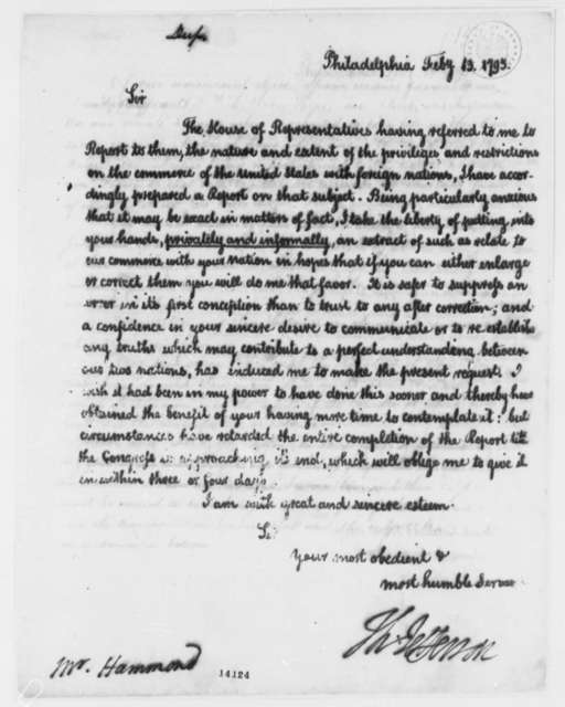 Thomas Jefferson to George Hammond, February 13, 1793, with Report