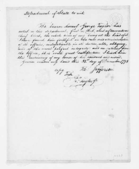 Thomas Jefferson to George Taylor Jr., December 31, 1793. Recommendation.
