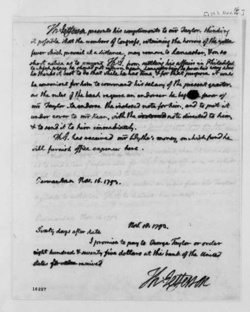 Thomas Jefferson to George Taylor, Jr., November 16, 1793, with Promissory Note