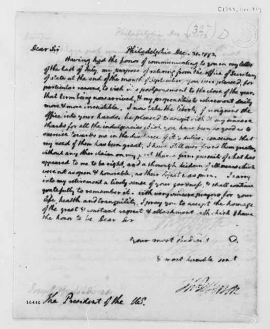 Thomas Jefferson to George Washington, December 31, 1793, Resignation as Secretary of State