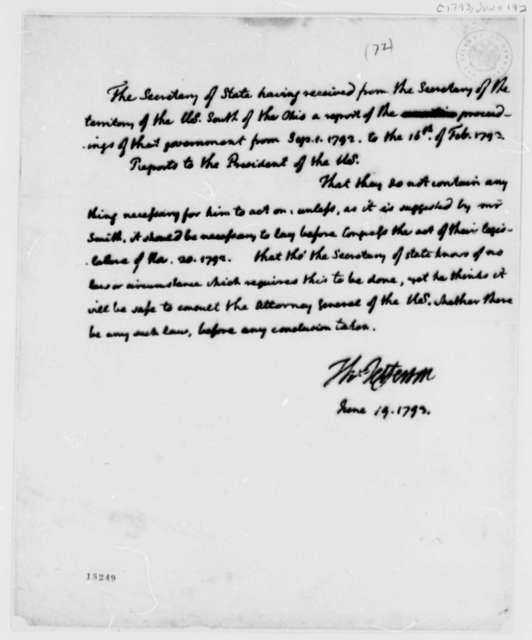 Thomas Jefferson to George Washington, June 19, 1793, Report