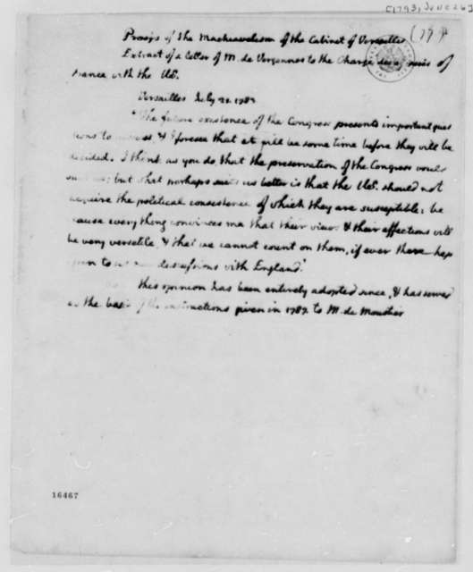 Thomas Jefferson to George Washington, June 26, 1793, with Extract of Letter from Vergennes
