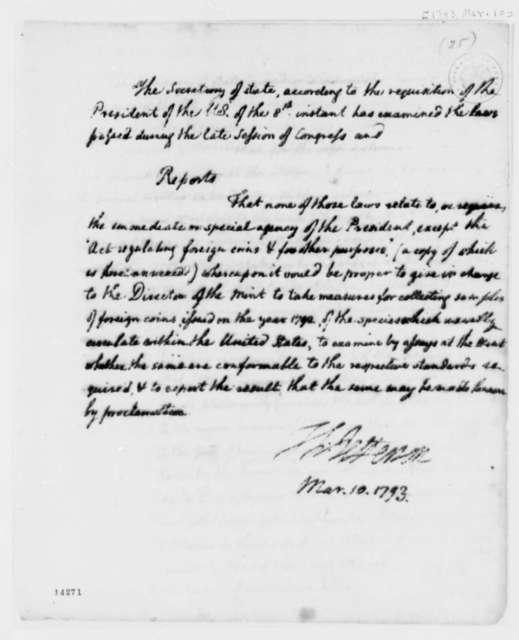 Thomas Jefferson to George Washington, March 10, 1793, Report