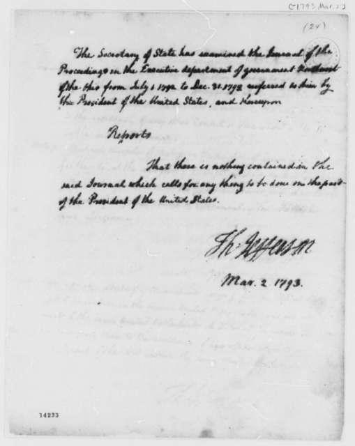 Thomas Jefferson to George Washington, March 2, 1793, Report