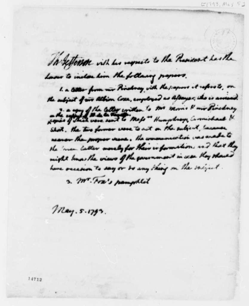 Thomas Jefferson to George Washington, May 5, 1793