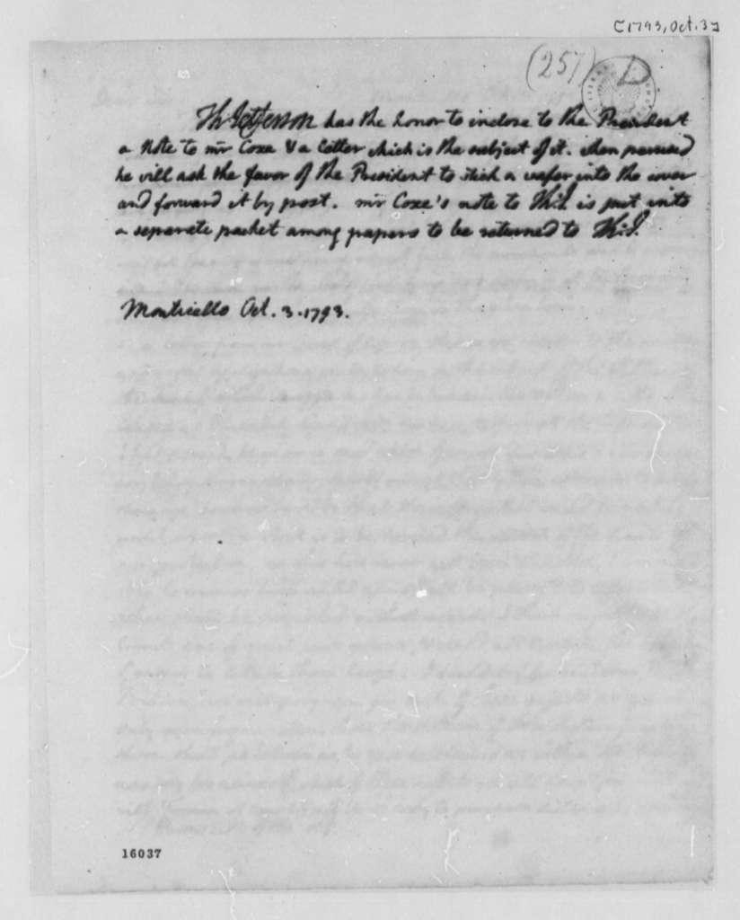 Thomas Jefferson to George Washington, October 3, 1793