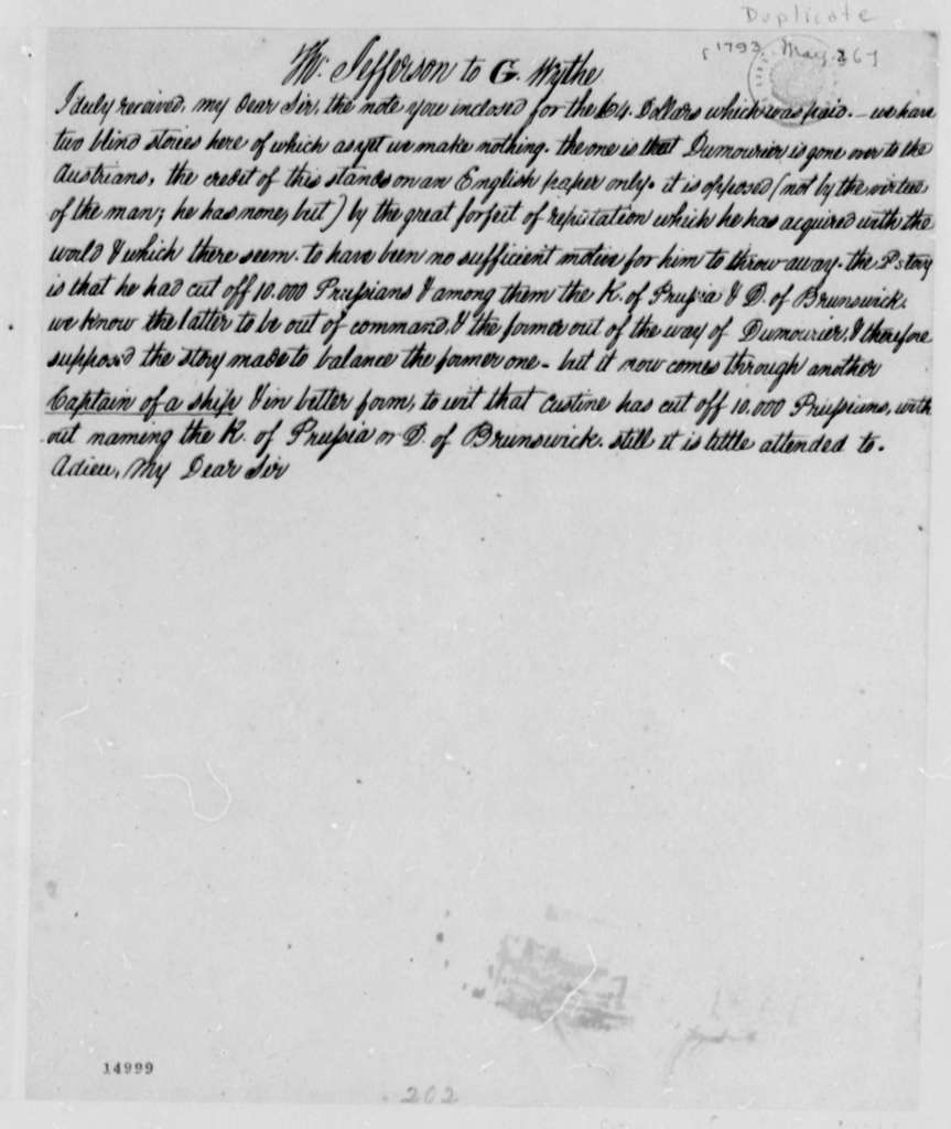 Thomas Jefferson to George Wythe, May 26, 1793, with Copy