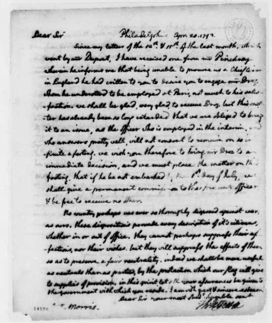 Thomas Jefferson to Gouverneur Morris, April 20, 1793, Partial Transcription Available