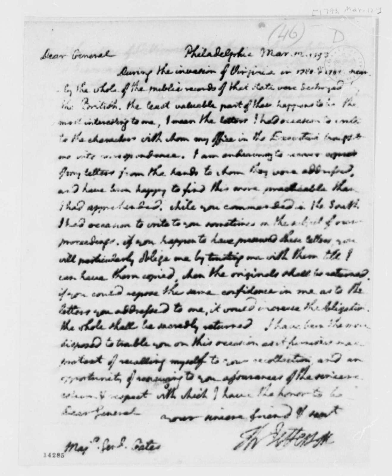 Thomas Jefferson to Horatio Gates, March 12, 1793