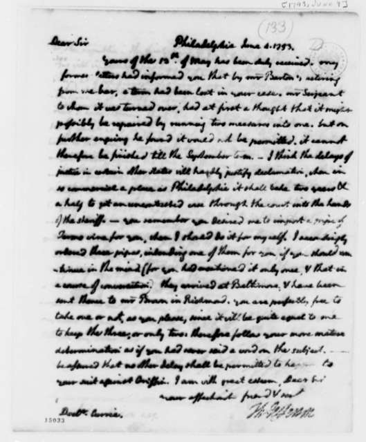 Thomas Jefferson to James Currie, June 4, 1793, with Copy