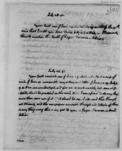 Thomas Jefferson to James Madison, July 28, 1793, with Variant Copy