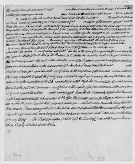Thomas Jefferson to James Madison, June 29, 1793, with Fragmented Copies