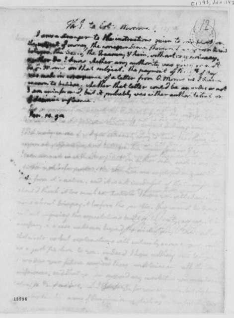 Thomas Jefferson to James Monroe, January 14, 1793