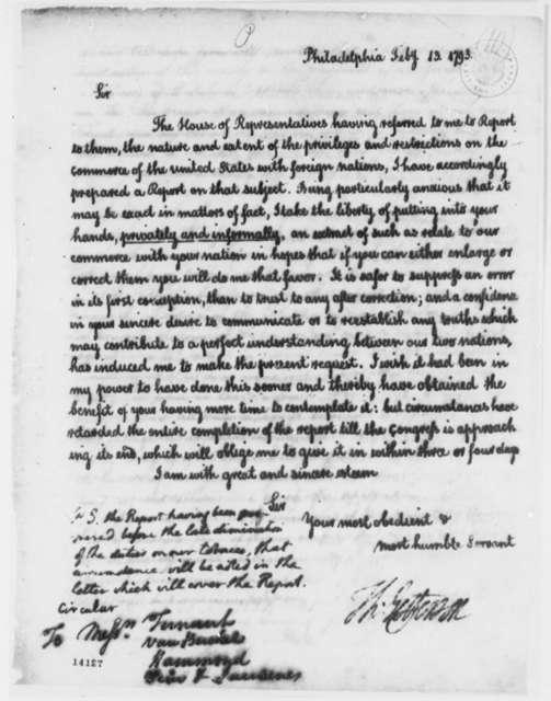 Thomas Jefferson to Jean Baptiste Ternant, et al, February 13, 1793, with Report