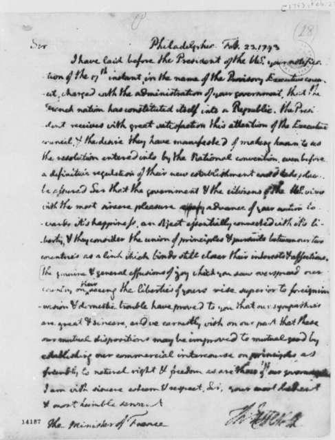 Thomas Jefferson to Jean Baptiste Ternant, February 23, 1793